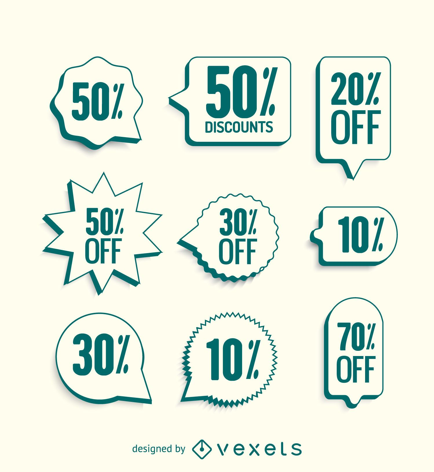 Sale labels with green borders