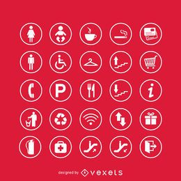 Conjunto de ícones de sinais de serviço