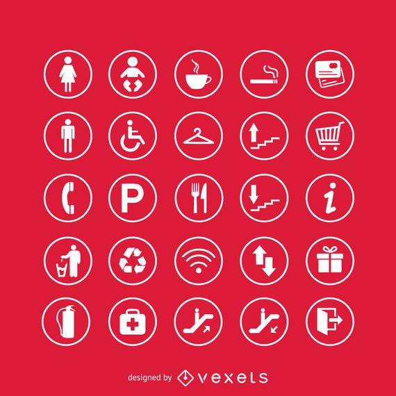 Conjunto de iconos de signos de servicio