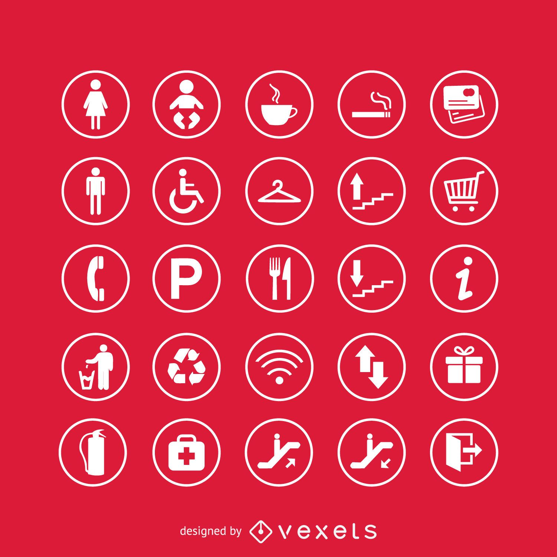 Service signs icon set