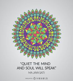 Mandala geométrica colorida com citação