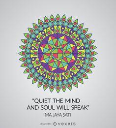 Mandala geométrico colorido con cita