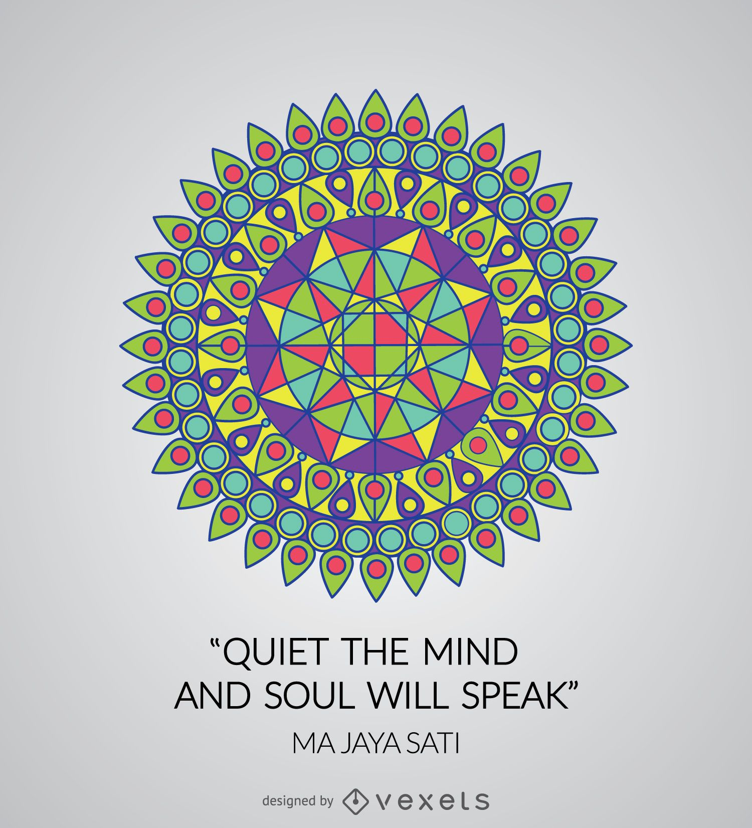 Colorful Geometric Mandala With Quote - Vector Download