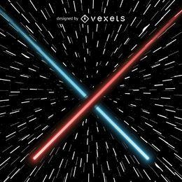 Lasers de cruzamento vermelho e azul