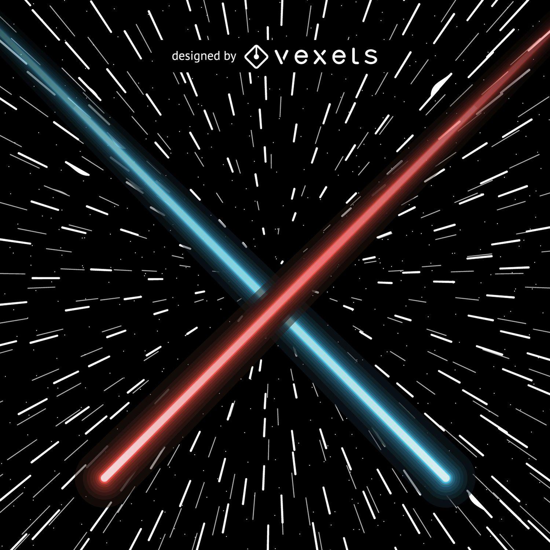 Lasers que cruzam vermelho e azul