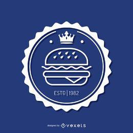 Insignias circulares de comida rápida.