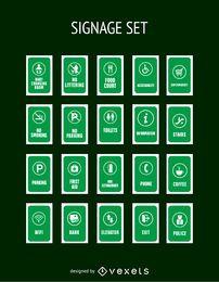 Coleção de etiquetas de serviço verde