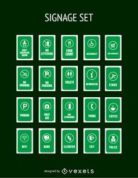 Grüne Service-Tags-Sammlung