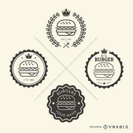 Conjunto de emblemas de comida rápida.