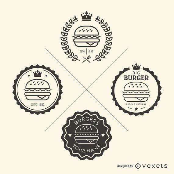 Conjunto de emblemas de fast food