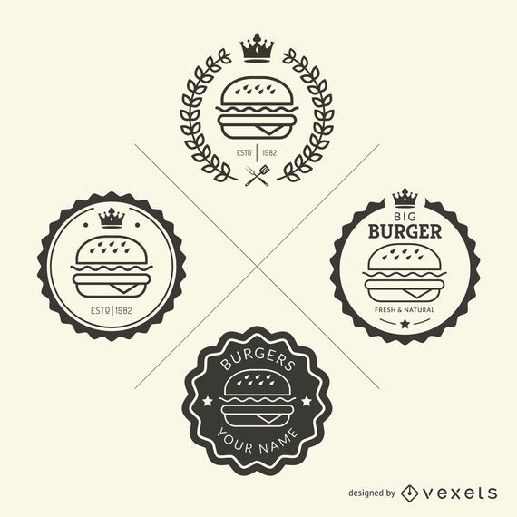 Set of fast food emblems