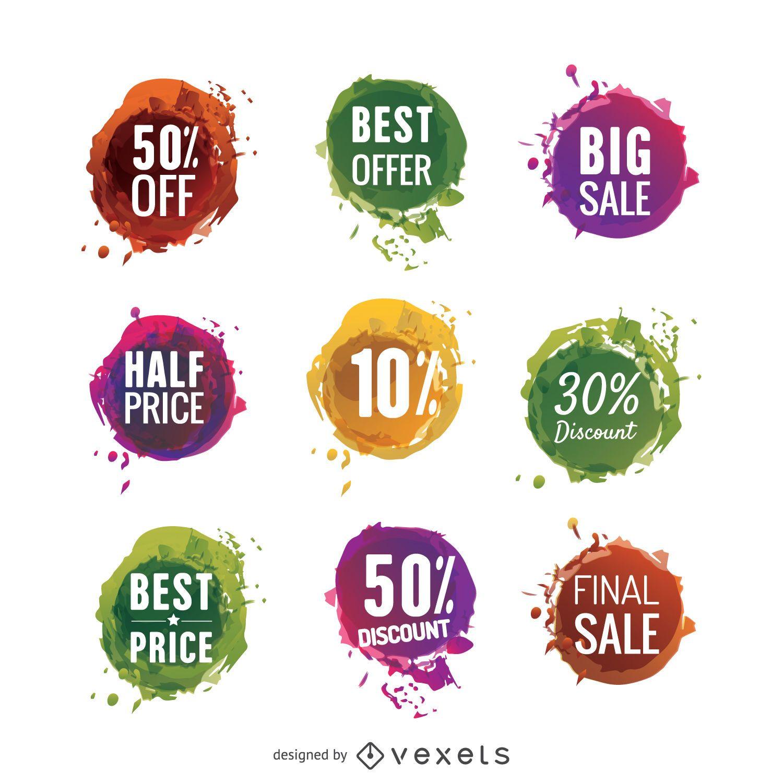 Conjunto de etiquetas de venta coloridas