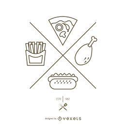 Logotipo de contorno simples fast-food