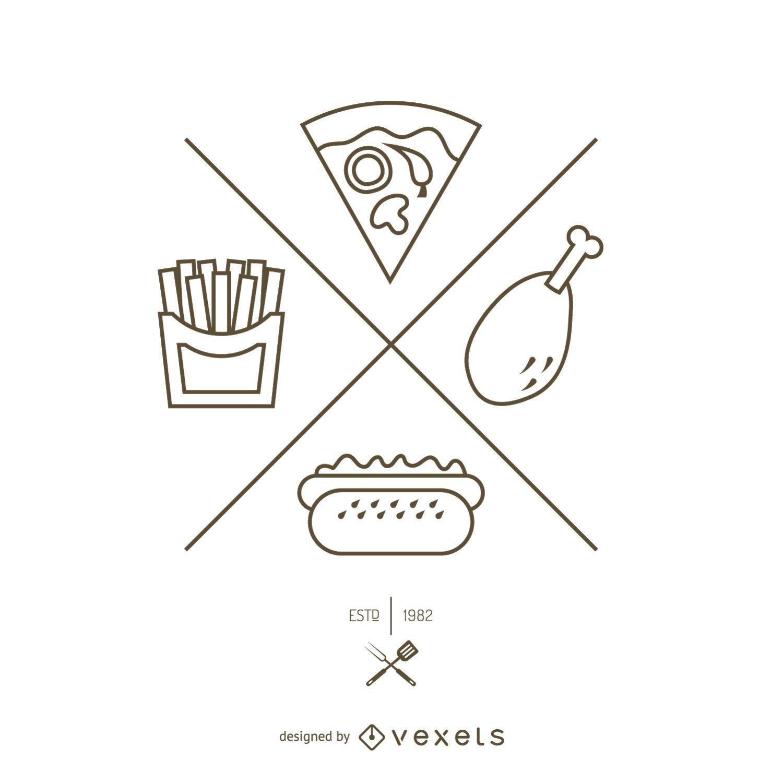 Logotipo de contorno simple de comida rápida