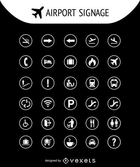 Coleção de sinais de aeroporto