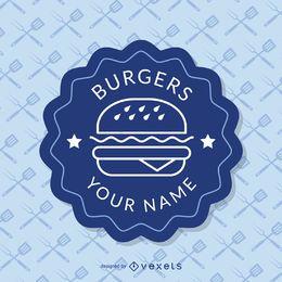 Blaue Fast-Food-Insignien