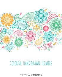 flores coloridas desenhadas mão