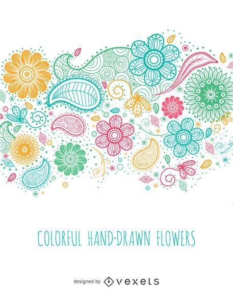 Flores de colores dibujados a mano