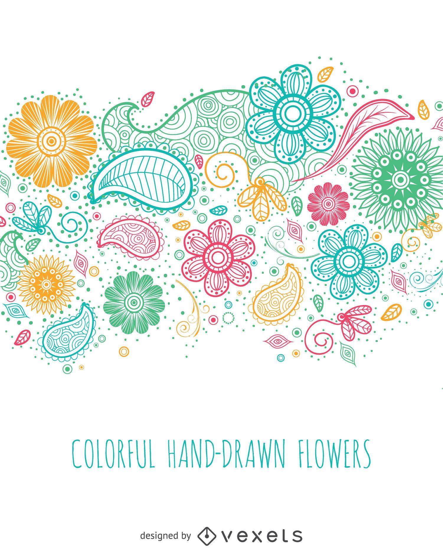Bunte handgezeichnete Blumen