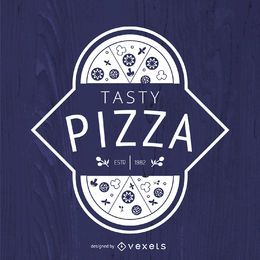 Hipster pizza logo in white