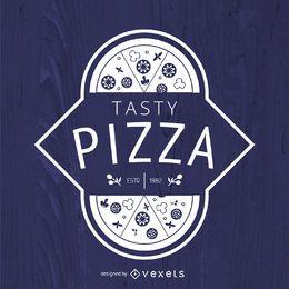 Logo de pizza hipster en blanco