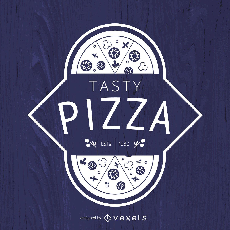 Hipster pizza logo in white