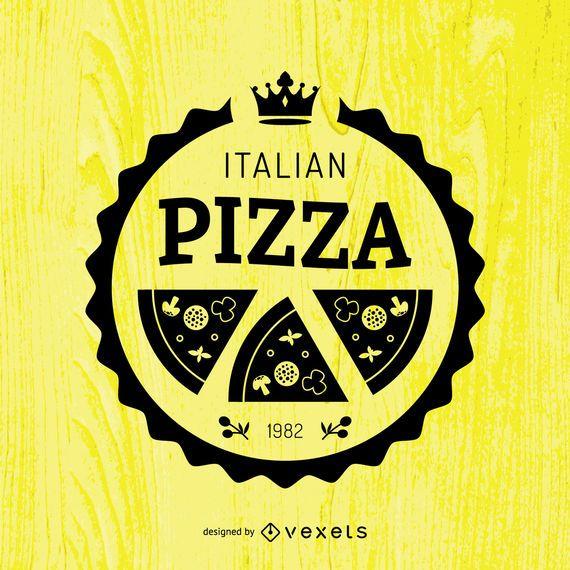 Round pizza emblem