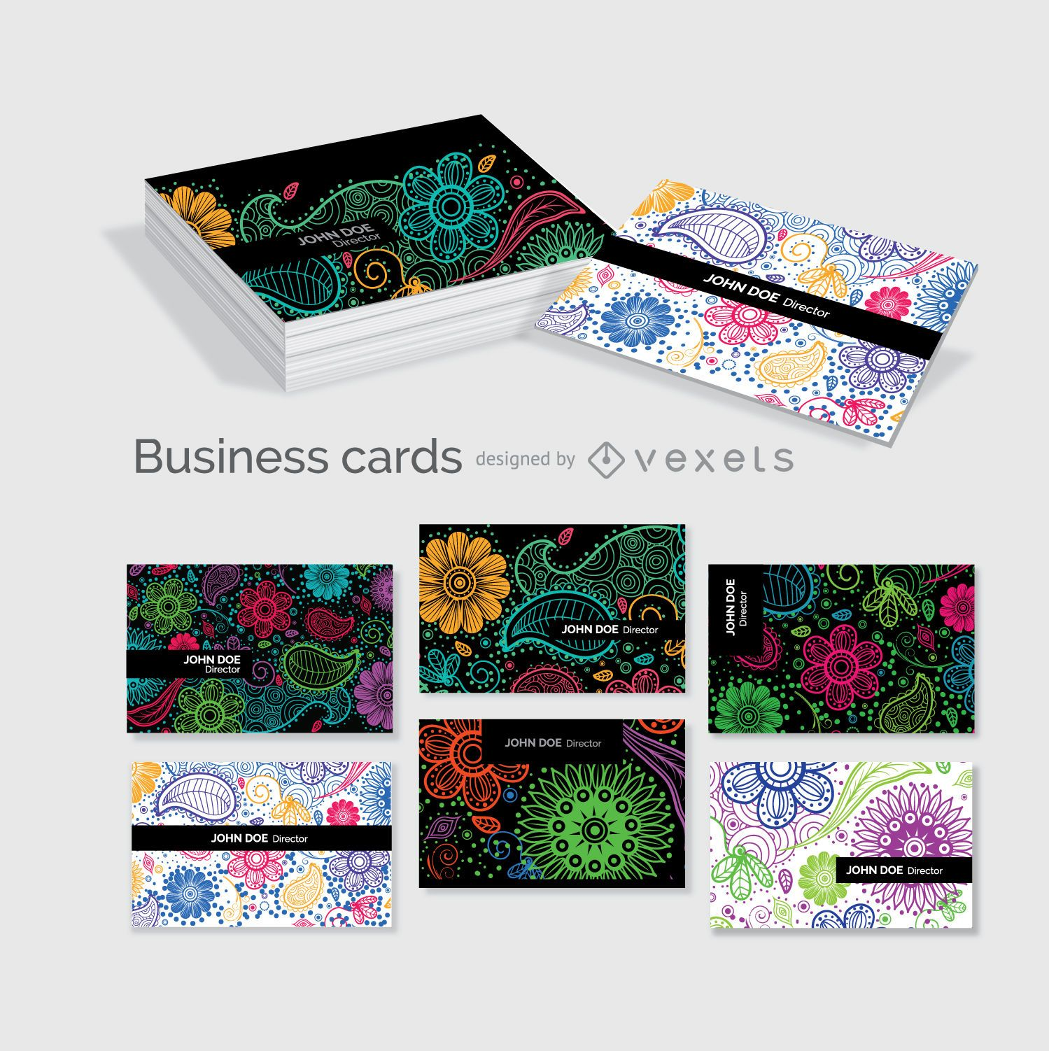 Floral business cards template