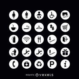 Ícones de sinal de serviço redondo