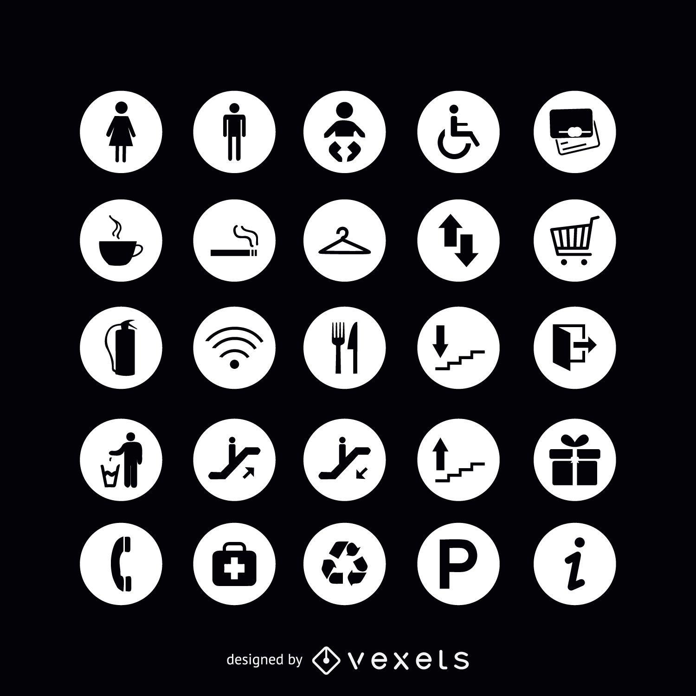 Iconos de signo de servicio redondo