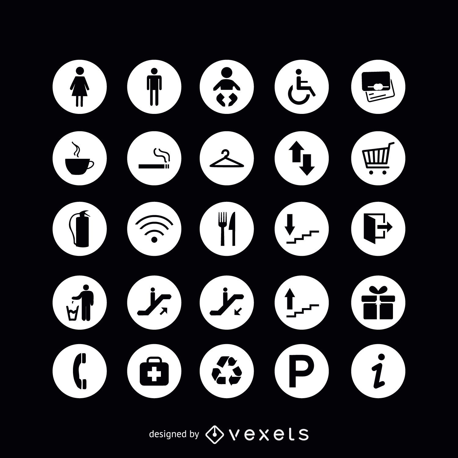 Round service sign icons