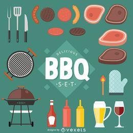 Schnellimbiß und BBQ-Vektorsatz