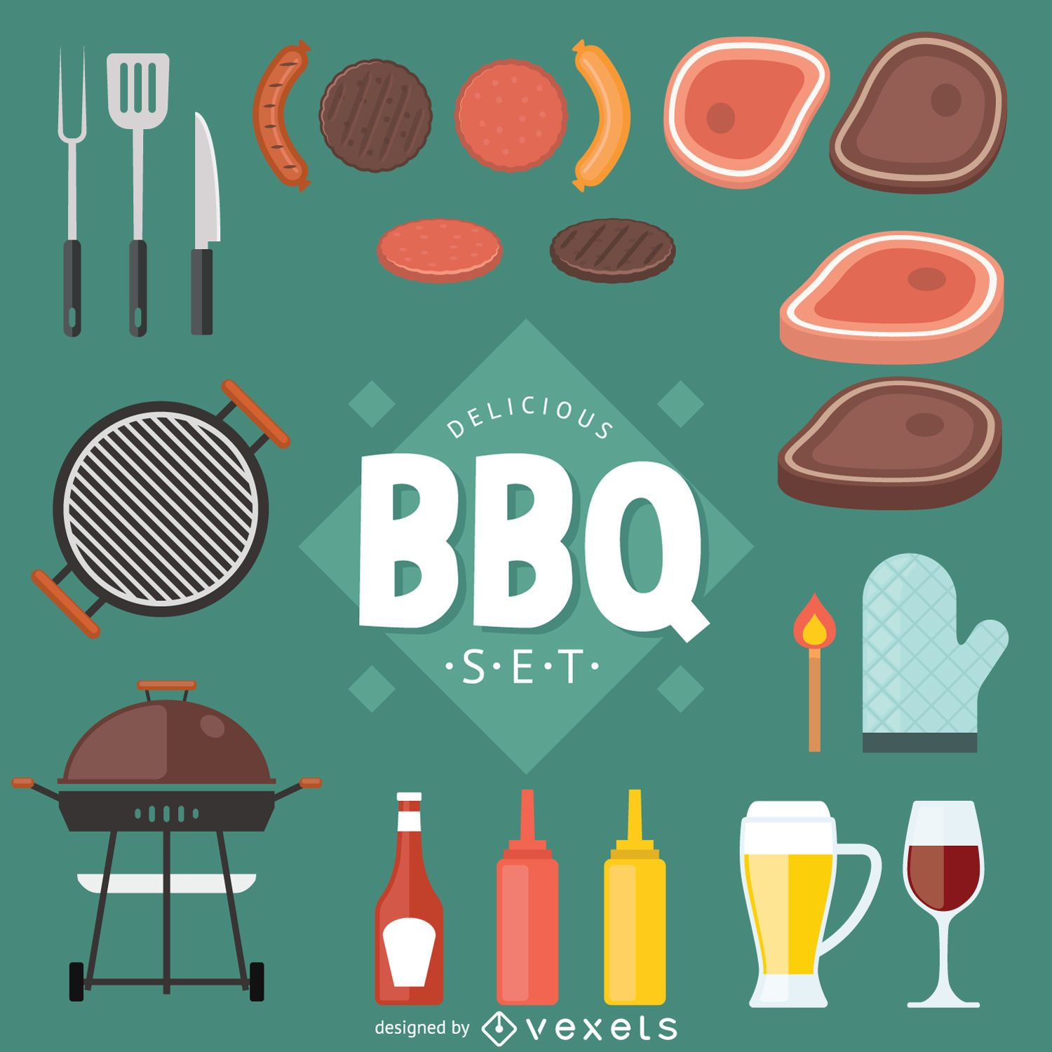 Fast food and BBQ vector set