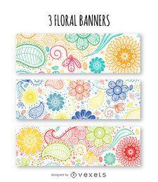 Conjunto de banners florales
