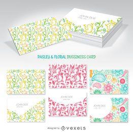 maquetas florales y del remolino tarjeta de visita