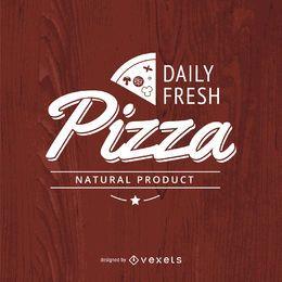 Logotipo de pizza tipográfica vintage