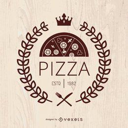 Pizza-Emblem mit Lorbeerkranz
