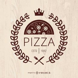 Pizza emblem with laurel wreath