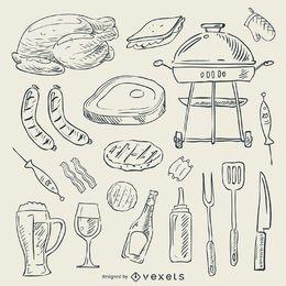 Conjunto de doodle de churrasco