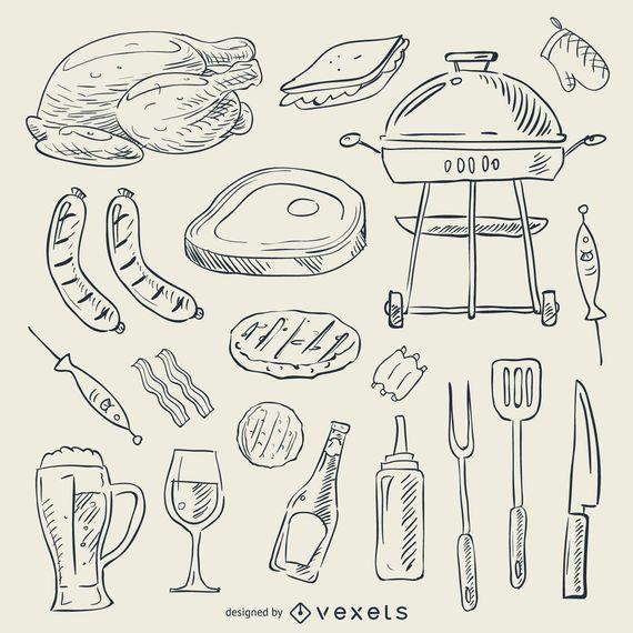Doodle conjunto de barbacoa