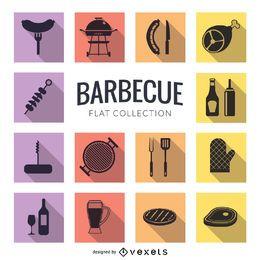 Conjunto de ícones planos de churrasco