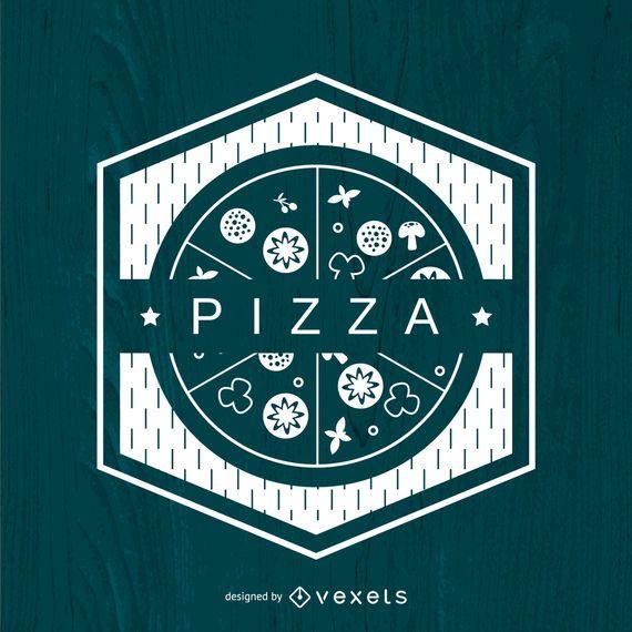Logotipo de pizza poligonal