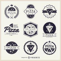 Colección de logos temáticos de pizza.