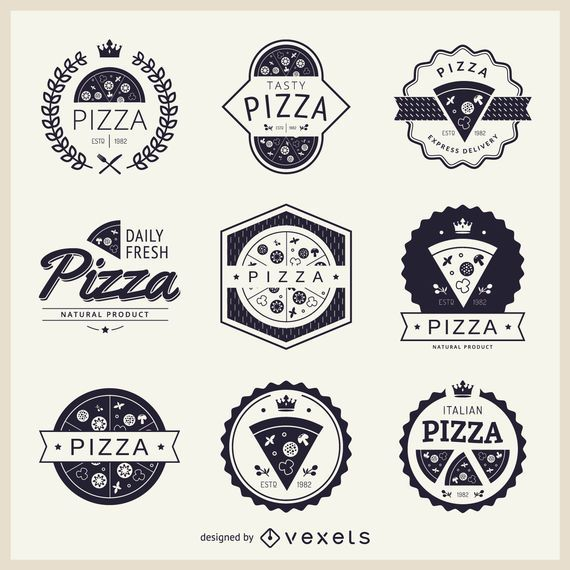 Coleção de logotipos com temas de pizza