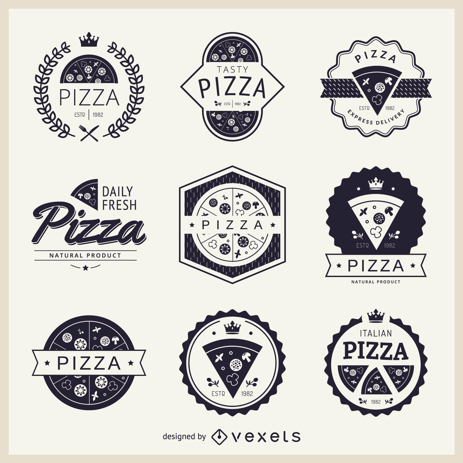 Coleção de logotipos com o tema pizza