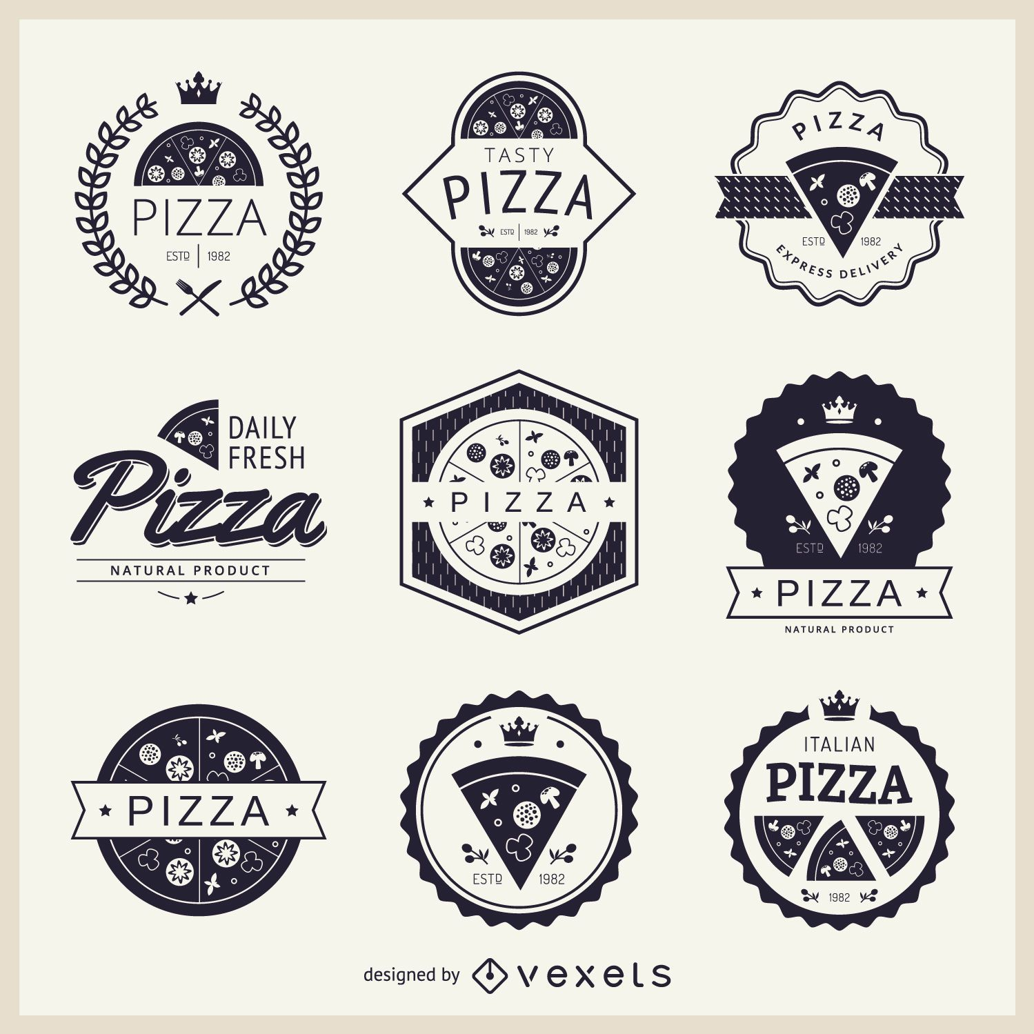 Sammlung von Pizza-Themen-Logos
