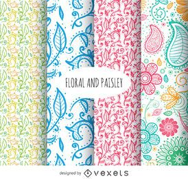 Conjunto de fundo floral e paisley