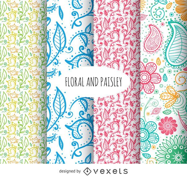 Floral And Paisley Background Set
