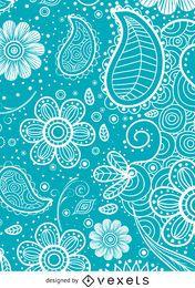 Paisley-Hintergrund in Blau