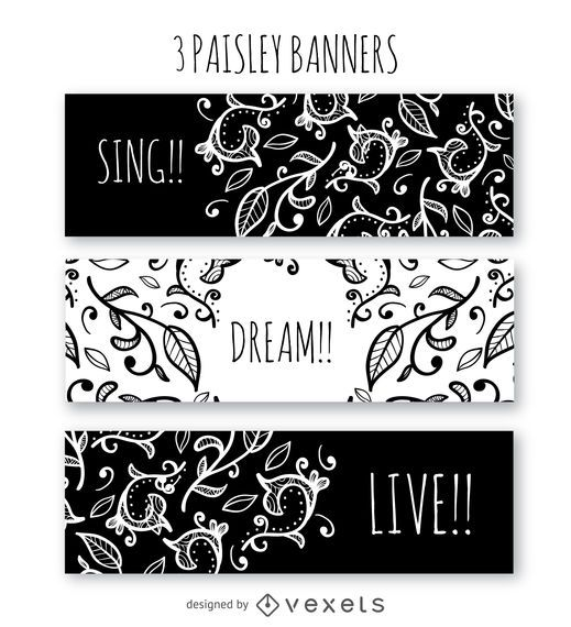 Black and white paisley banner template